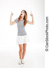 女性の指すこと, 促される, 若い, の上, 指, 2, 偶然
