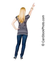 女性の指すこと, 壁, 若い, 背中, ブルネット, 光景