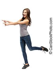 女性の指すこと, 手, 丈いっぱいに, 肖像画, ジェスチャーで表現する
