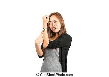 女性の指すこと, 腕時計, アジア人, 時間, 指摘