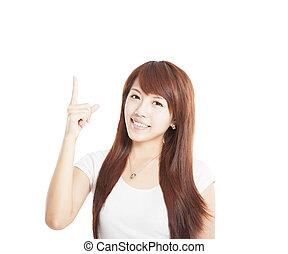 女性の指すこと, 若い, の上, アジア人, 微笑