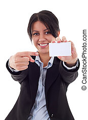 女性の指すこと, 若い, ブランク, 微笑, カード