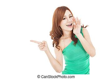 女性の指すこと, 若い, 叫ぶこと, アジア人, 微笑