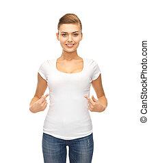 女性の指すこと, tシャツ, ブランク, 微笑, 白
