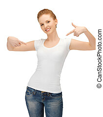 女性の指すこと, tシャツ, ブランク, 白, 彼女自身