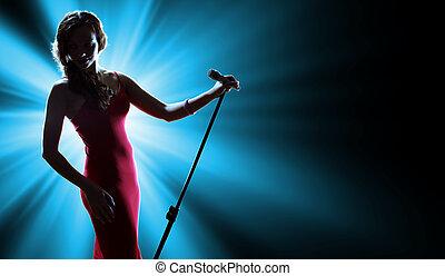 女性の歌手, 上に, ∥, ステージ