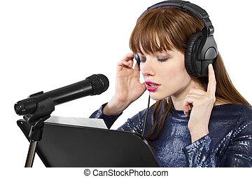 女性の歌手, 上に, a, 白い背景