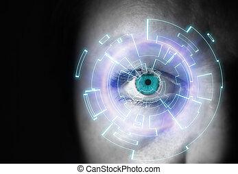 女性の目, それ, インターフェイス, デジタル, 前部