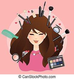 女性の目, のまわり, 構成しなさい, 魅力, 口紅, ブラシ, 女性, 微笑, 女の子, 赤面, 影, 粉