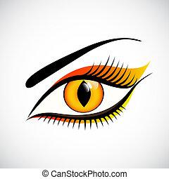 女性の目, の上, ねこ, レンズ, 連絡, デザイン, 終わり
