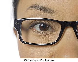 女性の目, ガラス