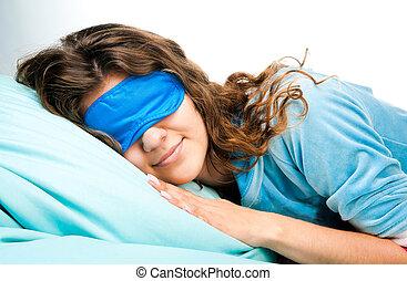 女性の目, マスク, 若い, 睡眠, 睡眠