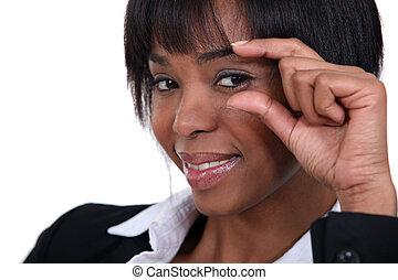 女性の目, 彼女, 見る, 肖像画, コーナー, から