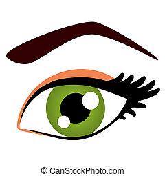 女性の目, 緑