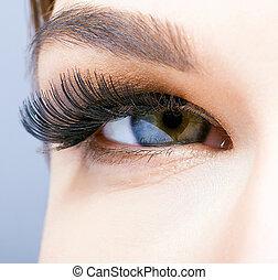 女性の目, 長い間, まつげ