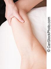 女性の背部, セラピスト, 三頭筋, 筋肉, 腕, マッサージ