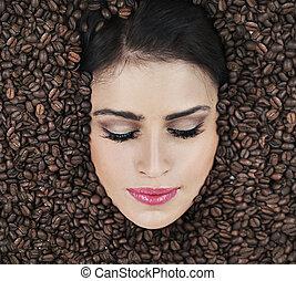 女性の表面, の中, coffe, 豆