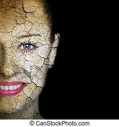 女性の表面