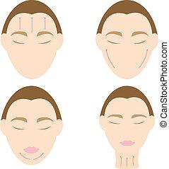 女性の表面, 2, 反, 容易である, しわ, マッサージ
