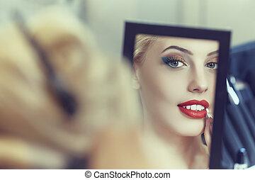 女性の見ること, 中に, ∥, 鏡