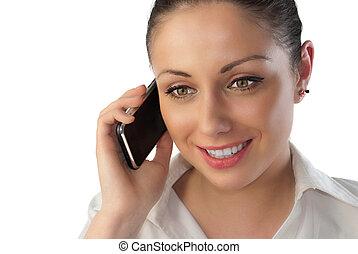 女性の話すこと, 上に, 若い, 電話, 魅力的, 感触
