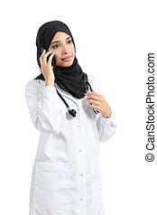 女性の話すこと, 医者, アラビア人, 電話, 痛みなさい