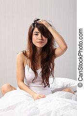 女性の モデル, の上, ベッドに, ひどく, 毛