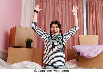 女性の モデル, ソファー, 箱, 写真, ボール紙, 幸せ