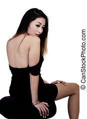女性の モデル, 腰掛け, アメリカ人, 黒, アジア人, 服