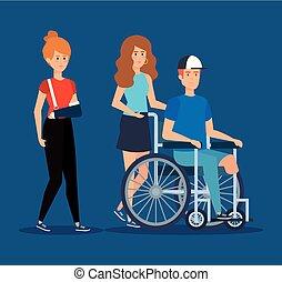 女性の モデル, 車椅子, 手, 破砕, 人
