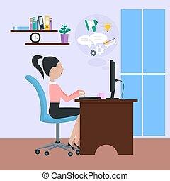 女性の モデル, omputer, 前部, テーブル, 椅子