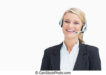 女性の 微笑, 間, 呼出し, a, 顧客