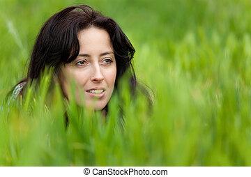 女性の 肖像画, 中に, 草
