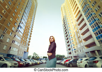 女性の 肖像画, 魅力的, 都市, ブロンド