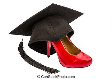 女性の 靴, 上に, モルタル