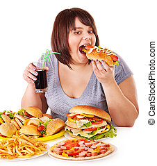 女性の 食べること, 速い, 食品。