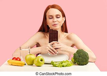 女性の 食べること, vegetables., 健康, 感じる, チョコレート, 間, anorexi, instead, 幸せ