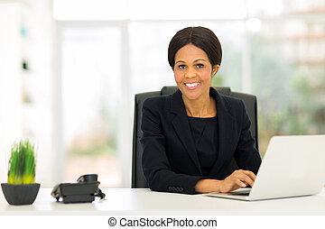 女性ビジネス, アメリカ人, コンピュータ, 成長した, 使うこと, アフリカ