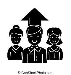 女性ビジネス, イラスト, -, 隔離された, 印, ベクトル, 黒い背景, チーム, アイコン, 2, 人