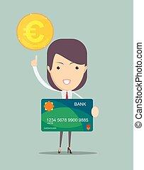 女性ビジネス, クレジット, もつ, 新しい, カード