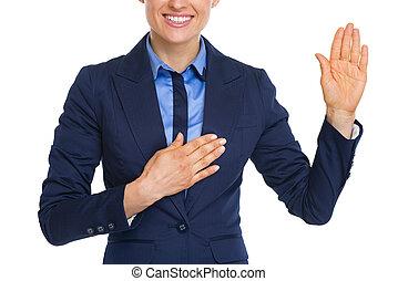 女性ビジネス, クローズアップ, 真実, 宣誓, 幸せ