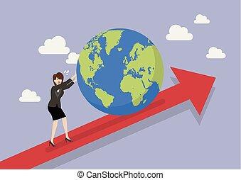 女性ビジネス, グラフ, 上へ押す, 世界