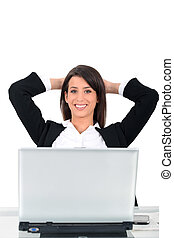 女性ビジネス, コンピュータ, 机, 前部, 坐らせる