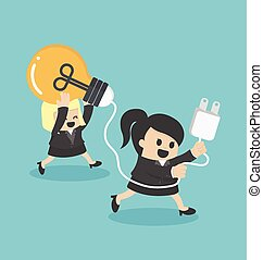女性ビジネス, サポート, チームワーク, 漫画, 概念