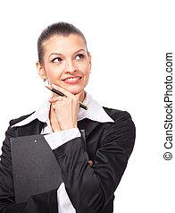 女性ビジネス, スペース, 提示, 手, 白