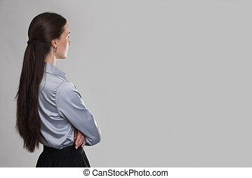 女性ビジネス, スペース, 背中, 若い見ること, コピー, 光景