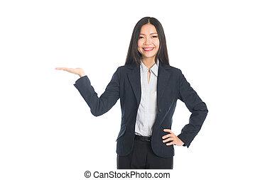 女性ビジネス, スペース, 隔離された, ブランク, 中国語, 白