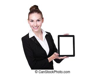女性ビジネス, タブレット, ∥あるいは∥, pc, 使うこと, 教師