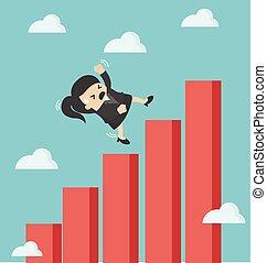 女性ビジネス, チャート, 下方に, グラフィック, 落ちる