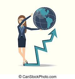 女性ビジネス, チャート, 成長する, 線, ショー